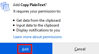 enabling Copy PlainText to run in Private Windows