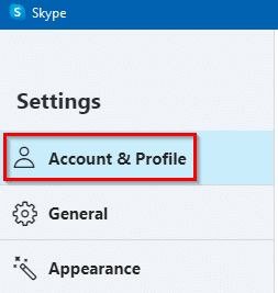 account and profile options in skype app
