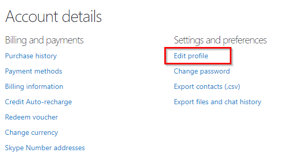 opening the profile settings for skype through the web version