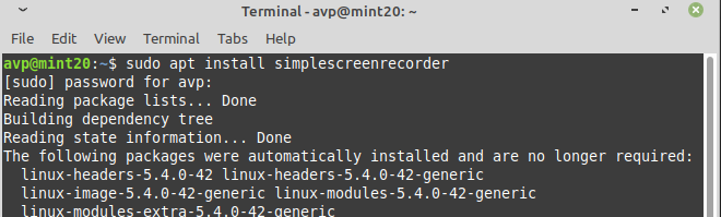 installing SimpleScreenRecorder in Linux Mint
