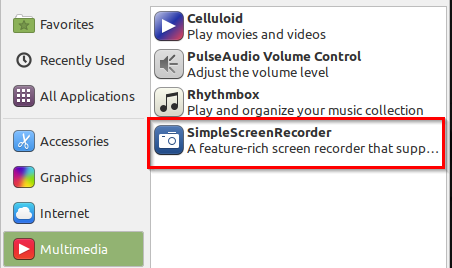SimpleScreenRecorder available in Multimedia menu