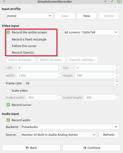 choosing what to record using SimpleScreenRecorder