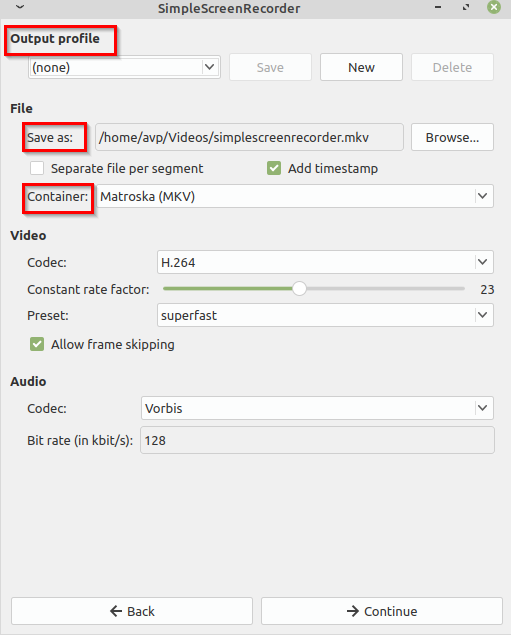 choosing output video format in SimpleScreenRecorder