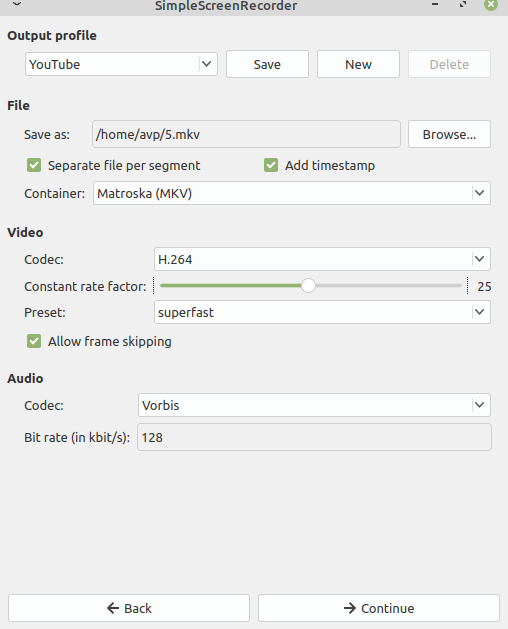presets when YouTube is selected as output profile in SimpleScreenRecorder