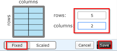 choosing a fixed layout to add rows and columns in Tab Resize-split screen layouts