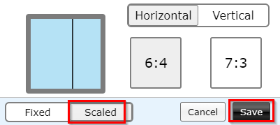 using the scaled layout option n Tab Resize-split screen layouts