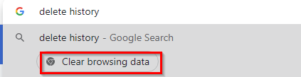 Chrome Actions for deleting browsing history