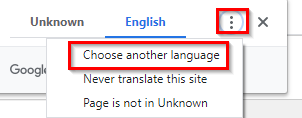 choosing a language for translating webpages