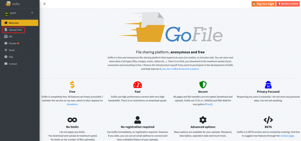 GoFile homepage