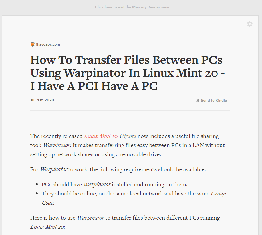 Clutter-free article view in Chrome with Mercury Reader