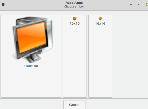 choosing an icon for Web Apps in Linux Mint 20.1