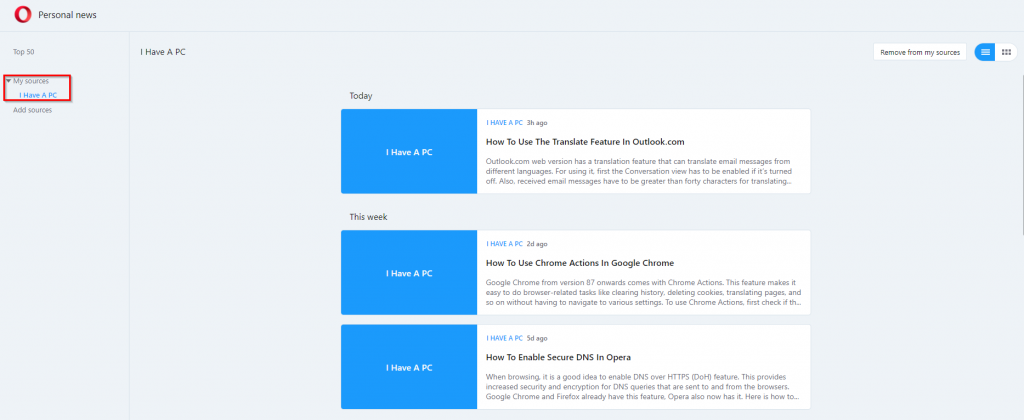 Opera news with individual websites added as a feed