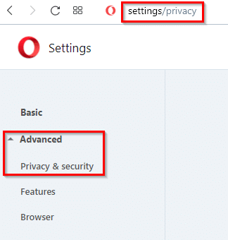 accessing opera privacy settings