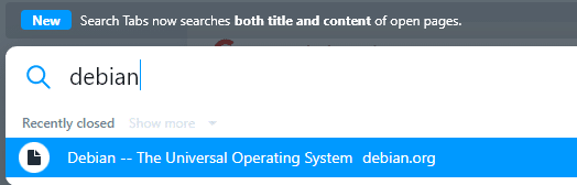 searching for tab title and content with the search tab feature in opera
