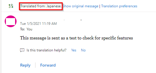 messages from other languages are auto-translated in Outlook..com if configured so