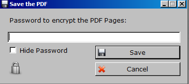 setting a password for PDF files in PDF Unshare