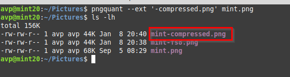 using a custom suffix for compressed images using pngquant