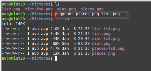 batch processing multiple png images using pngquant