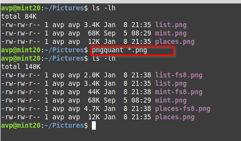 selecting all png images for processing using pngquant