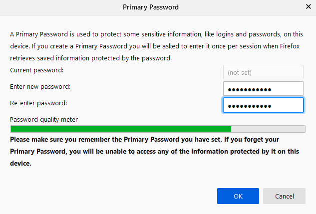 setting a primary password for Firefox Lockwise
