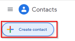 creating a new contact using Google Contacts