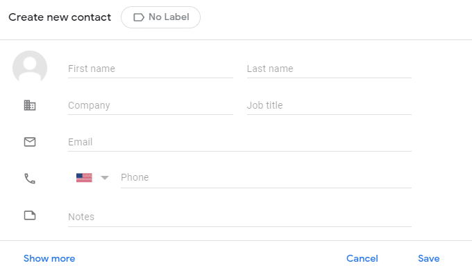 filling in contact details in Google Contacts