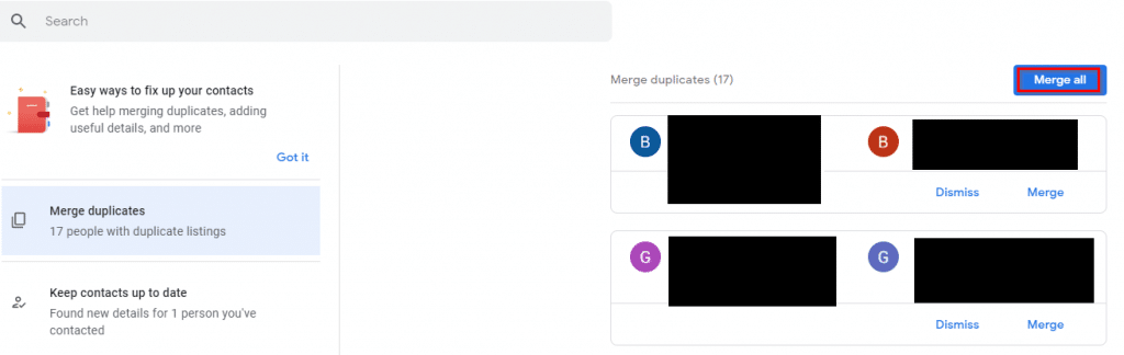 merging duplicate contacts using Google Contacts