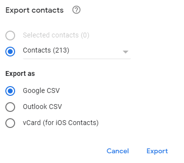 choosing CSV for exporting contacts using Google Contacts