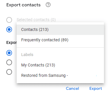 choosing what to export using Google Contacts