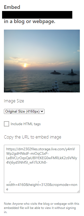 embed link generated for photo stored in OneDrive