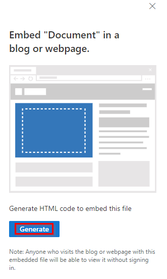 generating an embed link for document from OneDrive