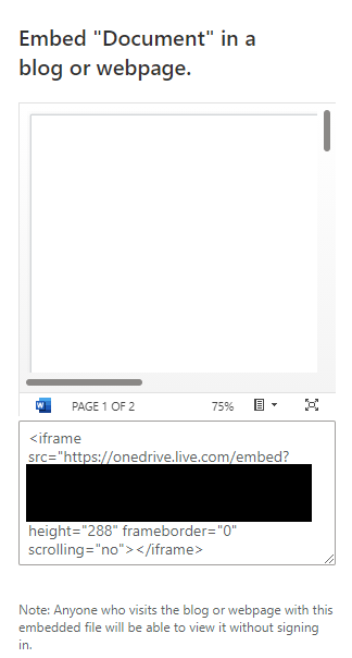embed link generated for document stored in OneDrive