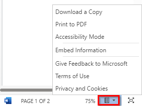 preview and other options when embedding document from OneDrive
