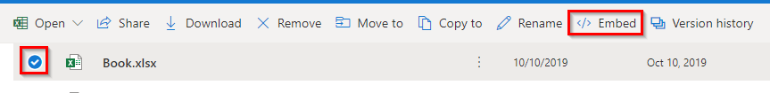 choosing the workbook to embed from OneDrive