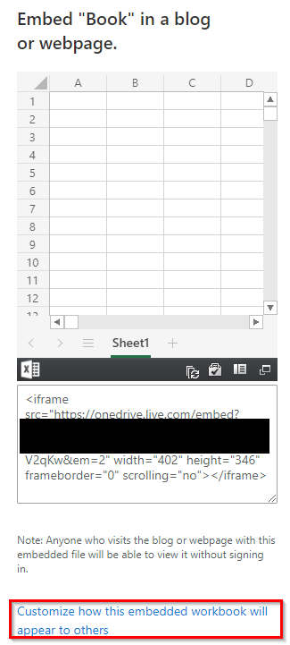 embed link generated for workbook and spreadsheet stored in OneDrive