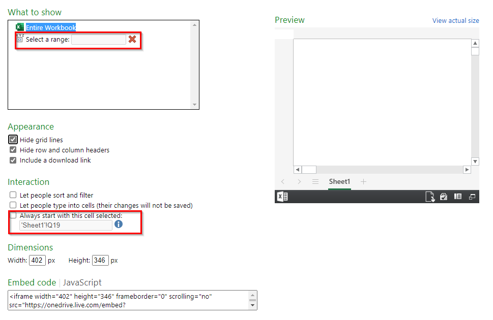 choosing a select cell range to display for embedded workbook from OneDrive