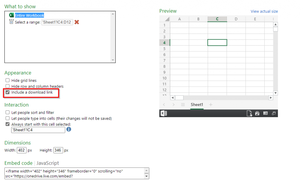 including a download link for embedding workbook from OneDrive