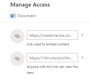 different links for sharing and embedding OneDrive content