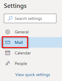 Mail settings in Outlook.com