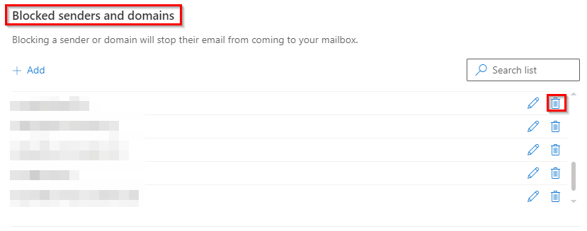 list of blocked senders and domains in Outlook.com
