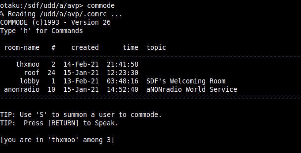 commode chat room tool in SDF