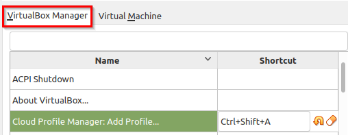 changing default shortcuts for VirtualBox Manager in Linux