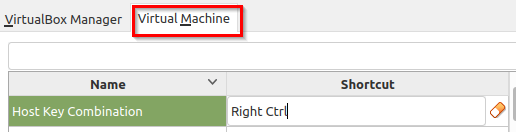 changing default shortcuts for Virtual Machine in Linux