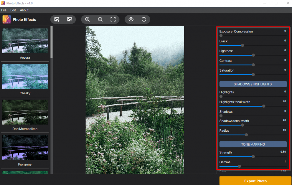 effects pane in Vertexshare Photo Effects