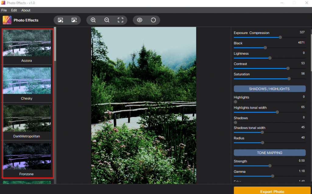 adding preset filters to image in Vertexshare Photo Effects