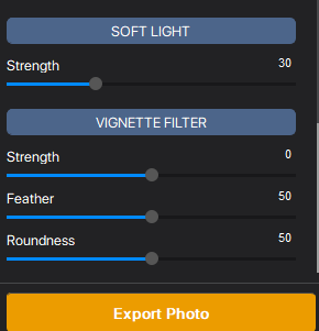 soft light, vignette filter and other effects in Vertexshare Photo Effects