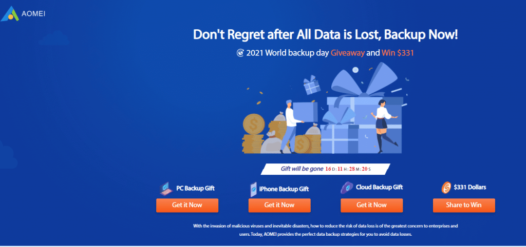 AOMEI giveaway page for World Backup Day