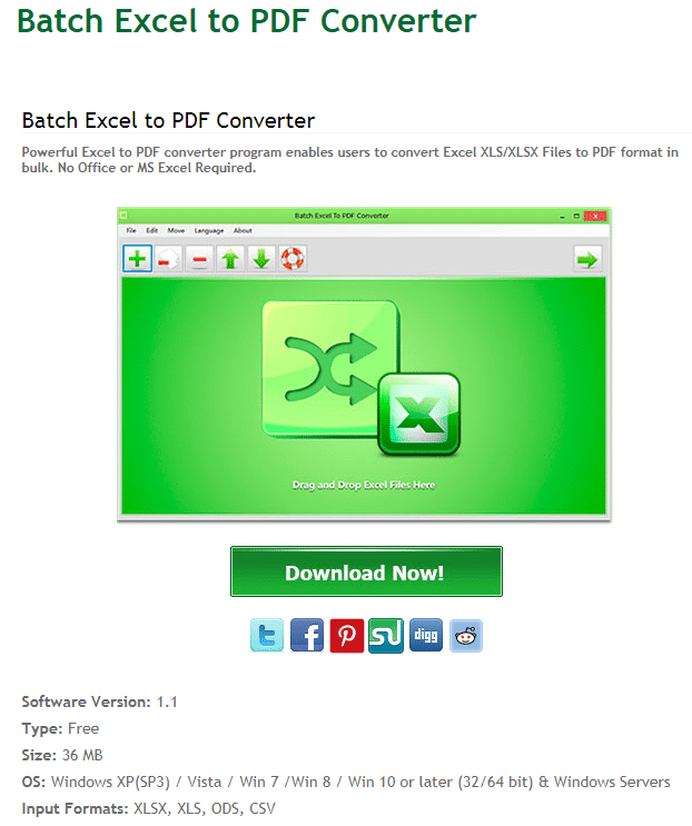 Batch Excel to PDF Converter homepage