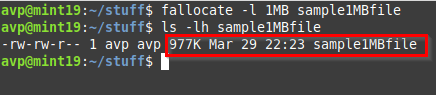 creating a 1 MB file using the fallocate command