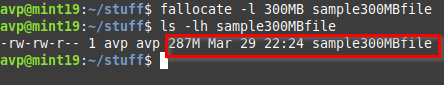 creating a 300 MB file using the fallocate command